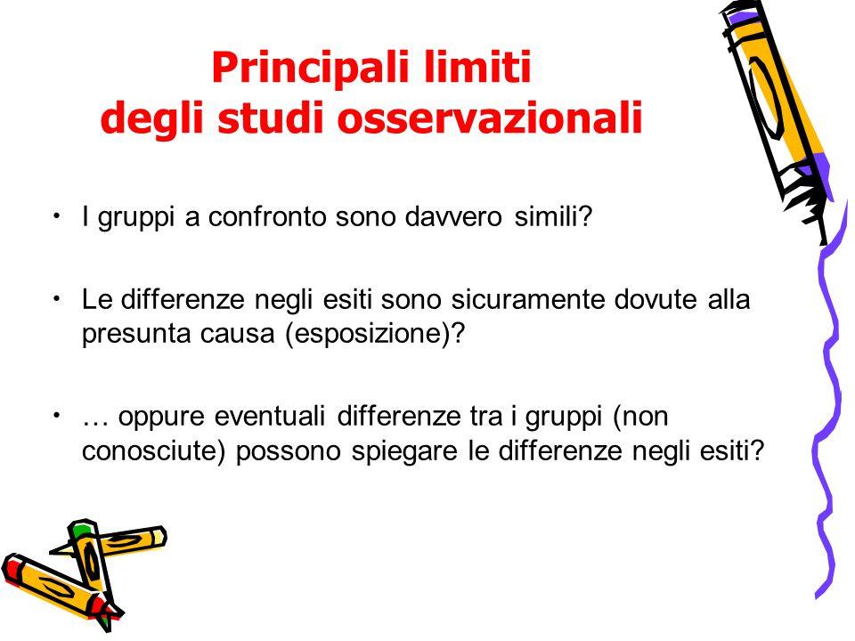 Principali limiti degli studi osservazionali I gruppi a confronto sono davvero simili? Le differenze negli esiti sono sicuramente dovute alla presunta
