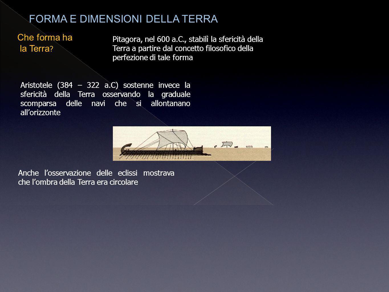 Che forma ha la Terra ? Pitagora, nel 600 a.C., stabilì la sfericità della Terra a partire dal concetto filosofico della perfezione di tale forma Aris