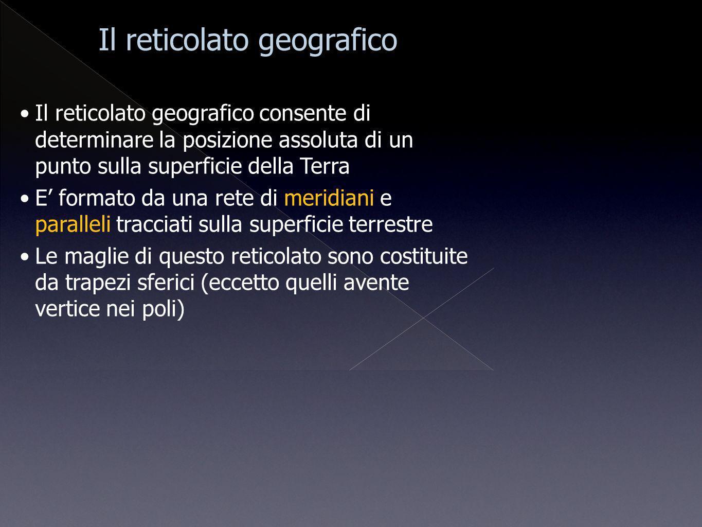 Il reticolato geografico consente di determinare la posizione assoluta di un punto sulla superficie della Terra E formato da una rete di meridiani e p