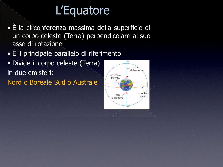 È la circonferenza massima della superficie di un corpo celeste (Terra) perpendicolare al suo asse di rotazione È il principale parallelo di riferimen