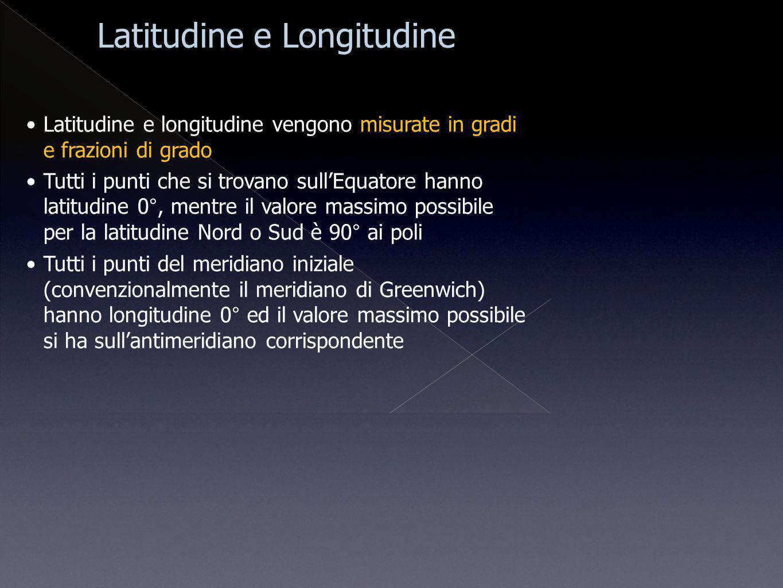 Latitudine e longitudine vengono misurate in gradi e frazioni di grado Tutti i punti che si trovano sullEquatore hanno latitudine 0°, mentre il valore