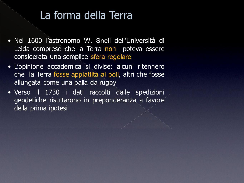 La forma della Terra Nel 1600 lastronomo W. Snell dellUniversità di Leida comprese che la Terra non poteva essere considerata una semplice sfera regol