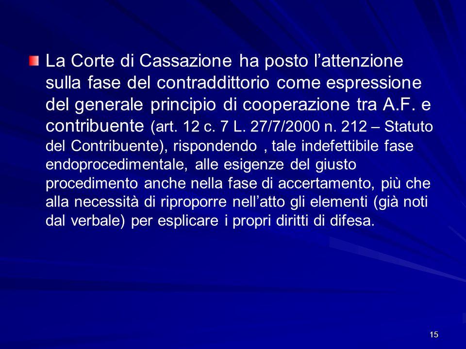 15 La Corte di Cassazione ha posto lattenzione sulla fase del contraddittorio come espressione del generale principio di cooperazione tra A.F.