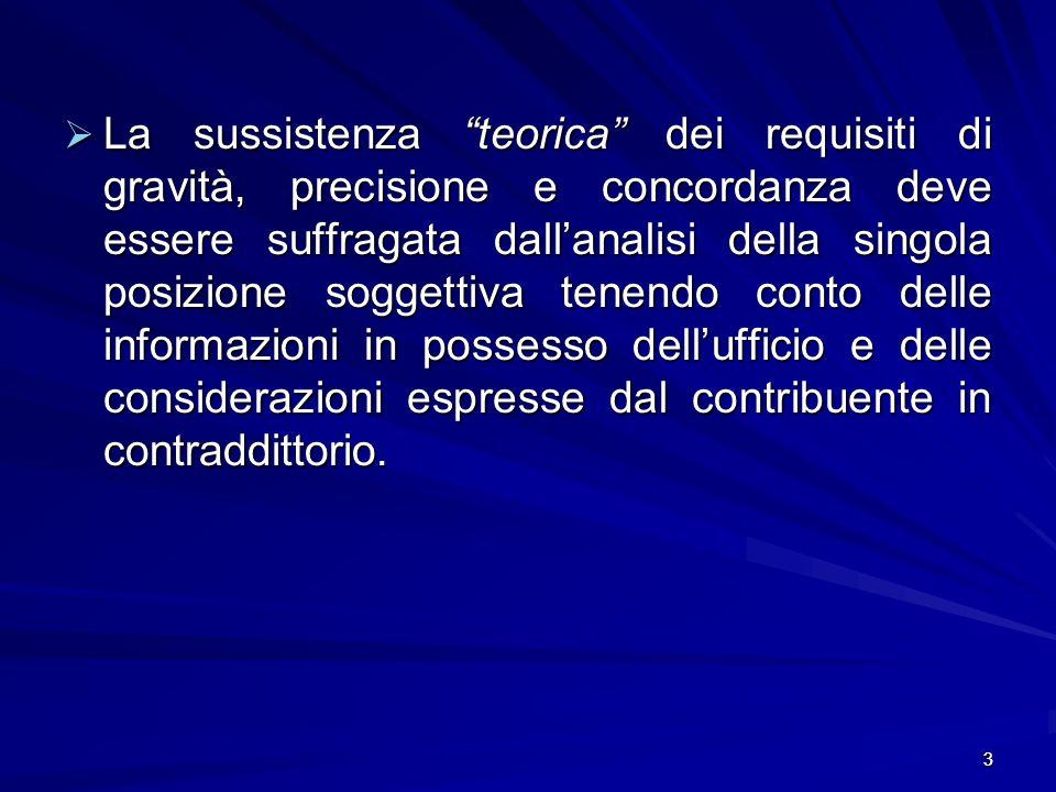 3 La sussistenza teorica dei requisiti di gravità, precisione e concordanza deve essere suffragata dallanalisi della singola posizione soggettiva tenendo conto delle informazioni in possesso dellufficio e delle considerazioni espresse dal contribuente in contraddittorio.