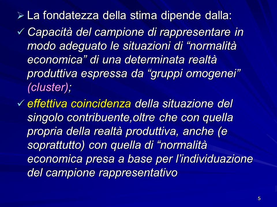 5 La fondatezza della stima dipende dalla: La fondatezza della stima dipende dalla: Capacità del campione di rappresentare in modo adeguato le situazi