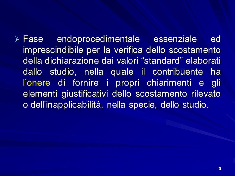 9 Fase endoprocedimentale essenziale ed imprescindibile per la verifica dello scostamento della dichiarazione dai valori standard elaborati dallo stud
