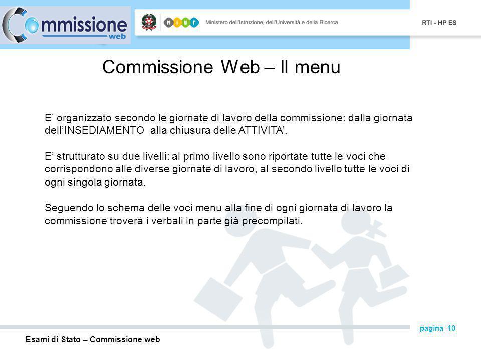 Esami di Stato – Commissione web pagina 10 Commissione Web – Il menu E organizzato secondo le giornate di lavoro della commissione: dalla giornata dellINSEDIAMENTO alla chiusura delle ATTIVITA.
