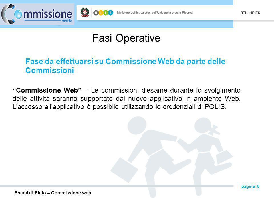 Esami di Stato – Commissione web pagina 6 Fasi Operative Commissione Web – Le commissioni desame durante lo svolgimento delle attività saranno supportate dal nuovo applicativo in ambiente Web.