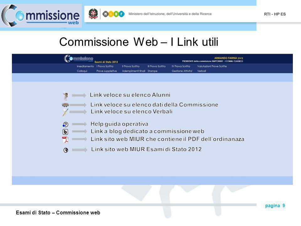 Esami di Stato – Commissione web pagina 9 Commissione Web – I Link utili