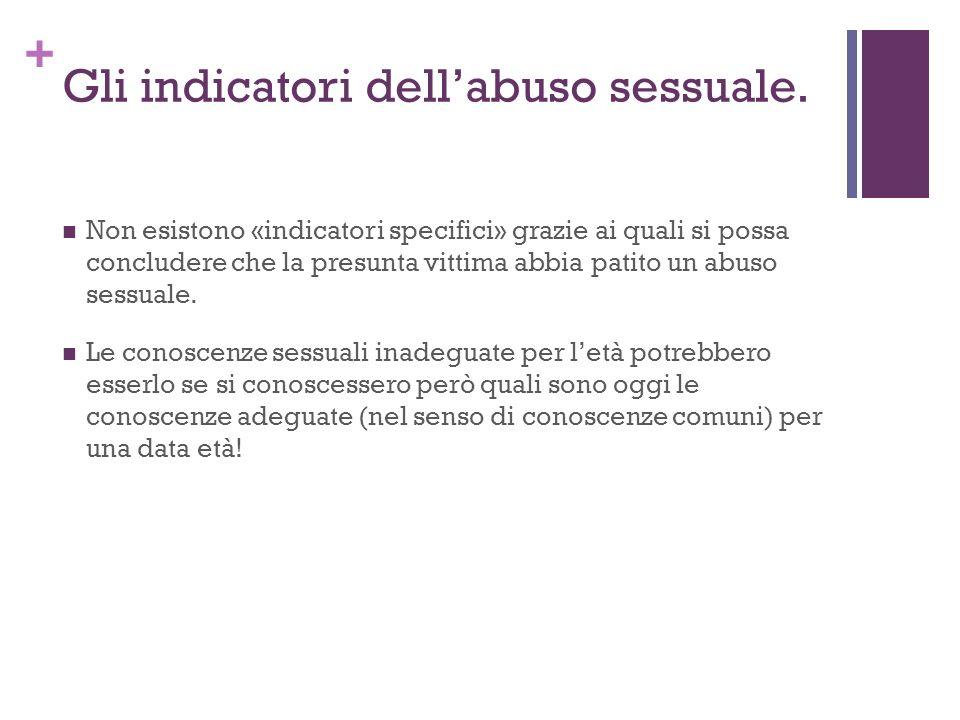 + Gli indicatori dellabuso sessuale.