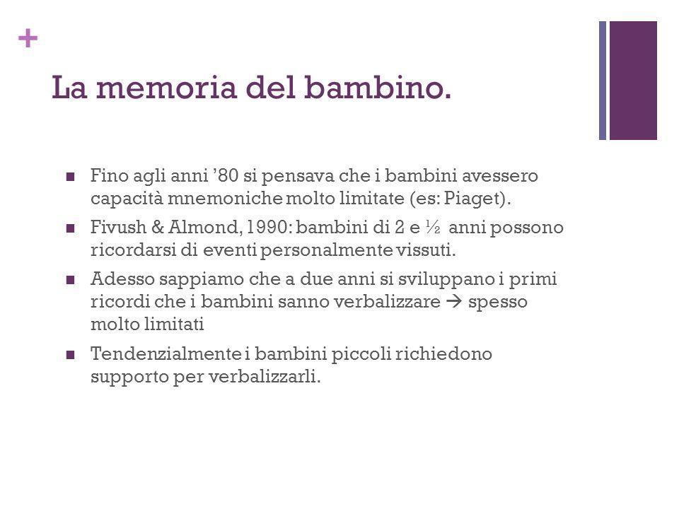 + La memoria del bambino.