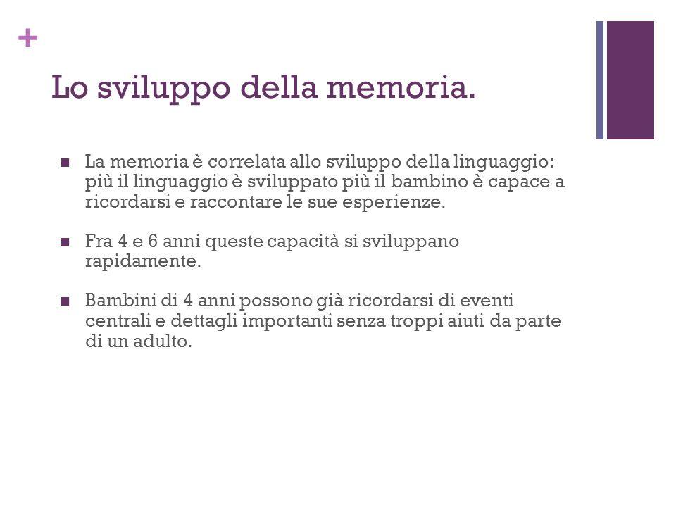 + Lo sviluppo della memoria. La memoria è correlata allo sviluppo della linguaggio: più il linguaggio è sviluppato più il bambino è capace a ricordars