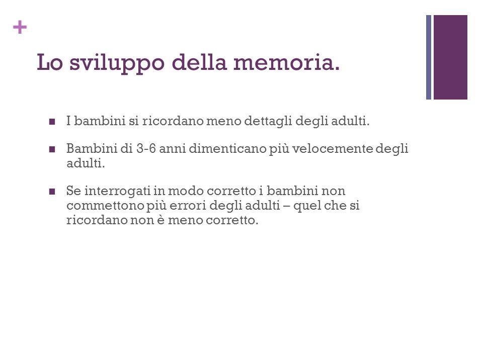 + Lo sviluppo della memoria.I bambini si ricordano meno dettagli degli adulti.