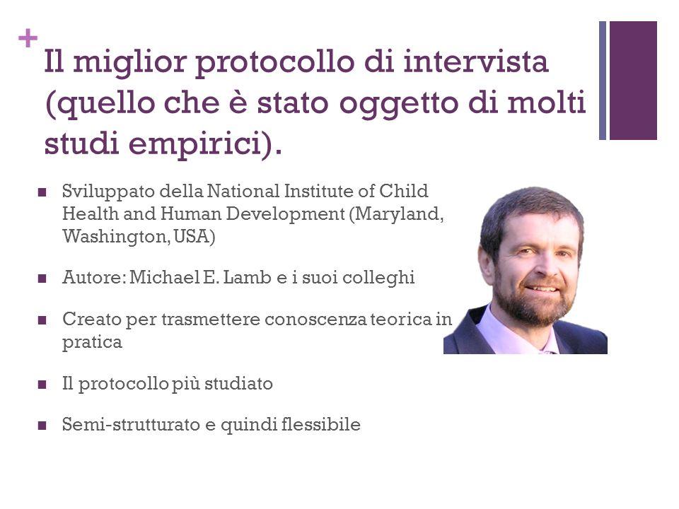 + Il miglior protocollo di intervista (quello che è stato oggetto di molti studi empirici). Sviluppato della National Institute of Child Health and Hu