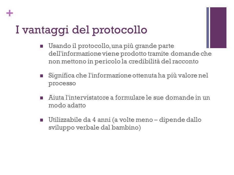 + I vantaggi del protocollo Usando il protocollo, una più grande parte dell'informazione viene prodotto tramite domande che non mettono in pericolo la