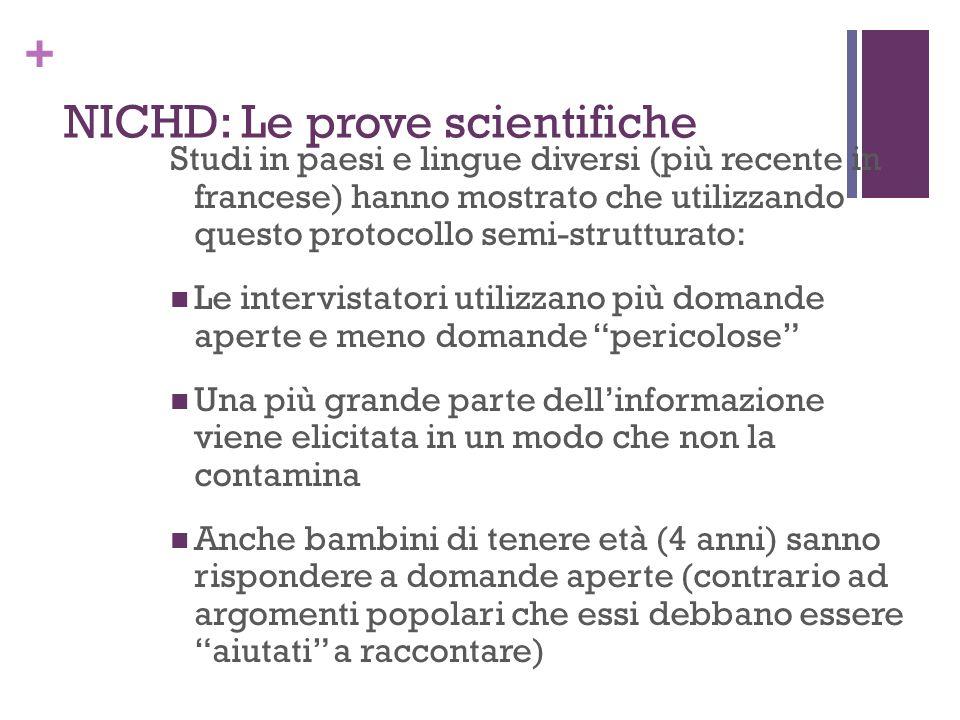 + NICHD: Le prove scientifiche Studi in paesi e lingue diversi (più recente in francese) hanno mostrato che utilizzando questo protocollo semi-struttu