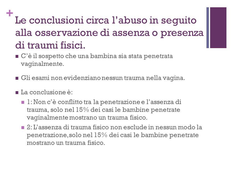+ Le conclusioni circa labuso in seguito alla osservazione di assenza o presenza di traumi fisici.