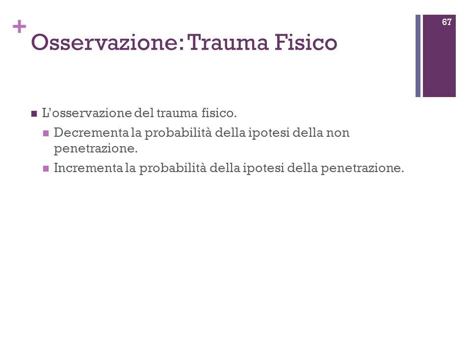 + Osservazione: Trauma Fisico Losservazione del trauma fisico. Decrementa la probabilità della ipotesi della non penetrazione. Incrementa la probabili