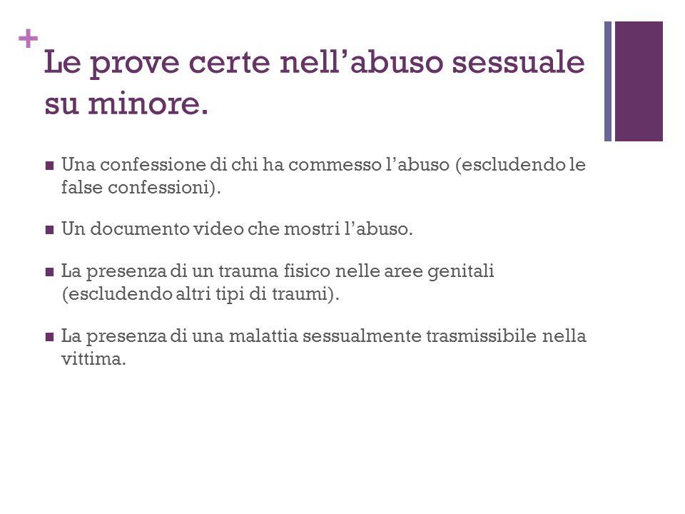 + Le prove certe nellabuso sessuale su minore. Una confessione di chi ha commesso labuso (escludendo le false confessioni). Un documento video che mos