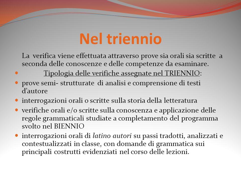 Nel triennio La verifica viene effettuata attraverso prove sia orali sia scritte a seconda delle conoscenze e delle competenze da esaminare. Tipologia