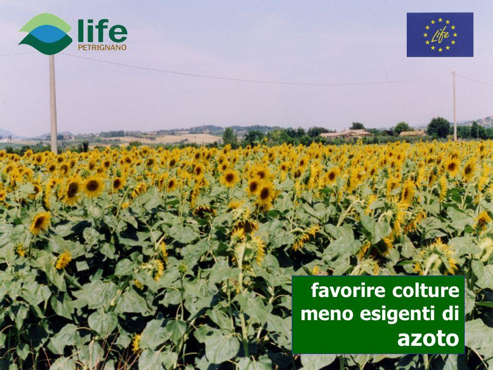 favorire colture meno esigenti di azoto