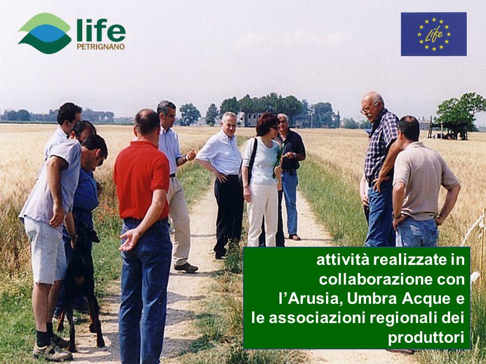 attività realizzate in collaborazione con lArusia, Umbra Acque e le associazioni regionali dei produttori