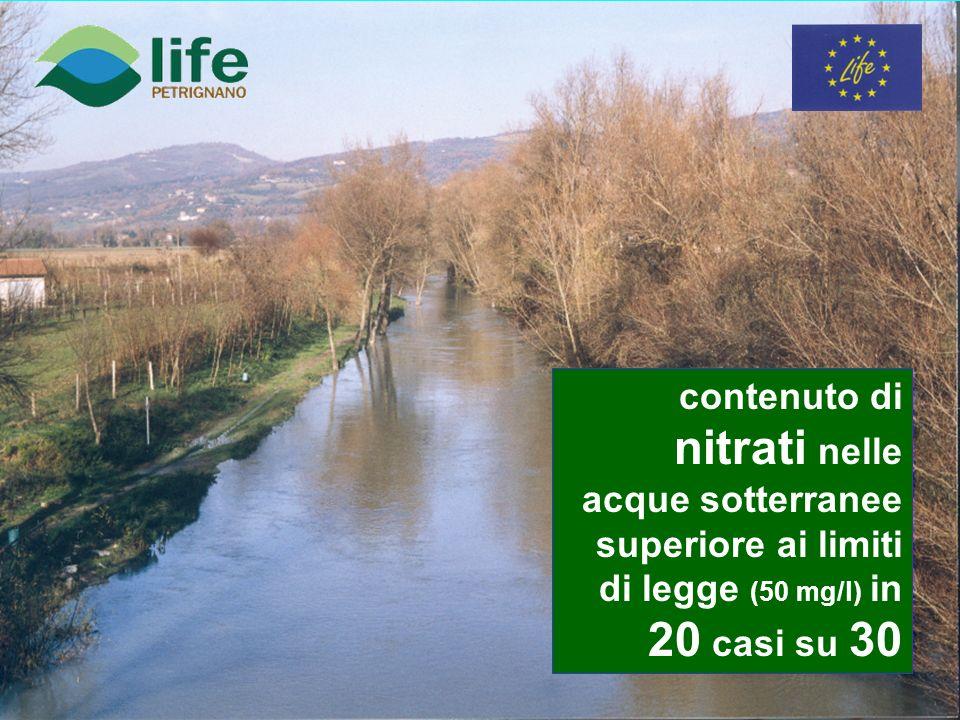 contenuto di nitrati nelle acque sotterranee superiore ai limiti di legge (50 mg/l) in 20 casi su 30