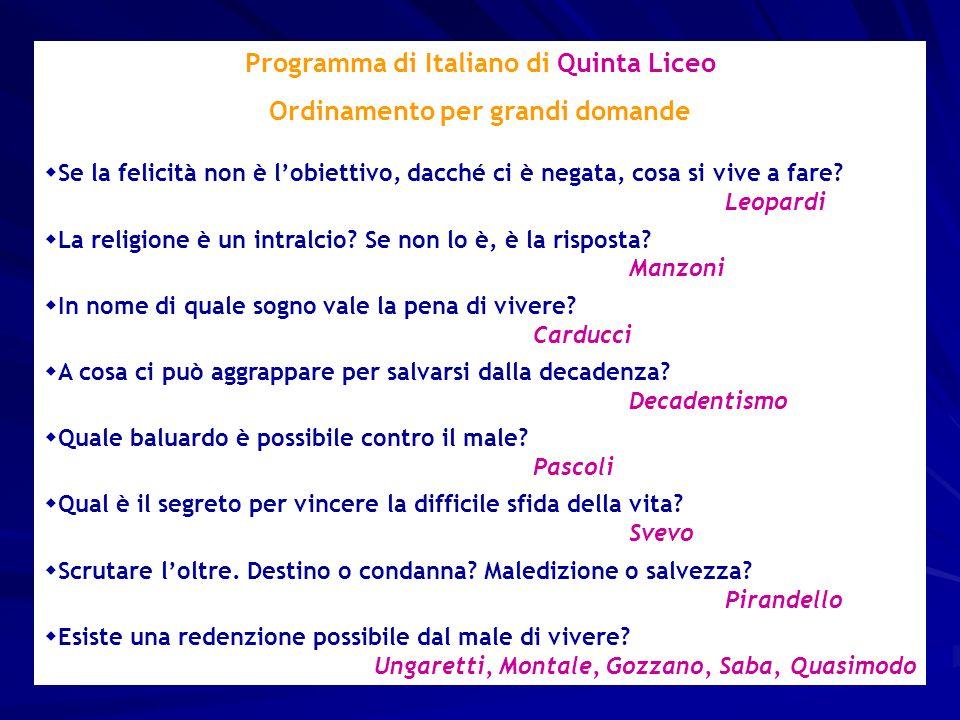 Programma di Italiano di Quinta Liceo Ordinamento per grandi domande Se la felicità non è lobiettivo, dacché ci è negata, cosa si vive a fare.