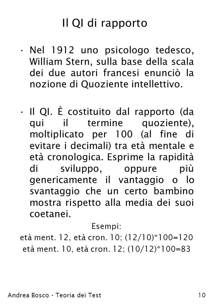 Andrea Bosco - Teoria dei Test10 Il QI di rapporto Nel 1912 uno psicologo tedesco, William Stern, sulla base della scala dei due autori francesi enunc