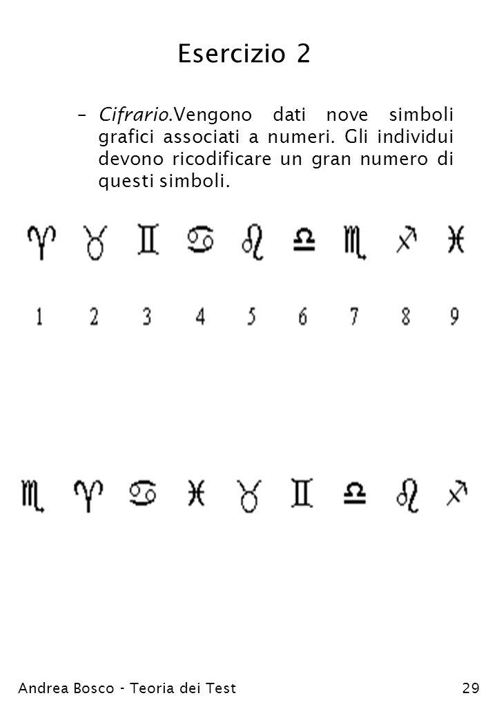 Andrea Bosco - Teoria dei Test29 Esercizio 2 –Cifrario.Vengono dati nove simboli grafici associati a numeri. Gli individui devono ricodificare un gran