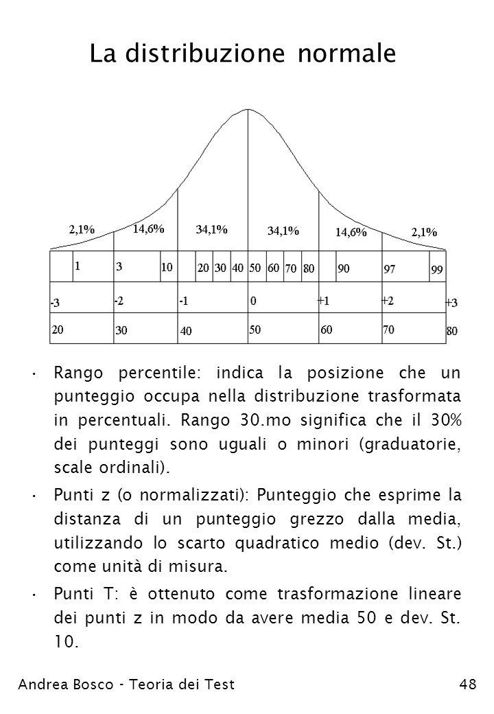 Andrea Bosco - Teoria dei Test48 La distribuzione normale Rango percentile: indica la posizione che un punteggio occupa nella distribuzione trasformat