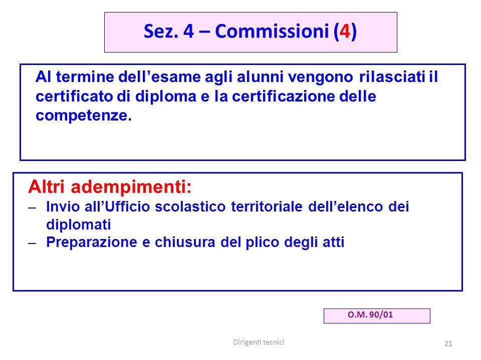 Dirigenti tecnici 21 Al termine dellesame agli alunni vengono rilasciati il certificato di diploma e la certificazione delle competenze.