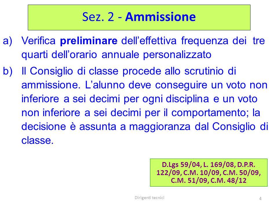 Dirigenti tecnici 4 a)Verifica preliminare delleffettiva frequenza dei tre quarti dellorario annuale personalizzato b)Il Consiglio di classe procede allo scrutinio di ammissione.