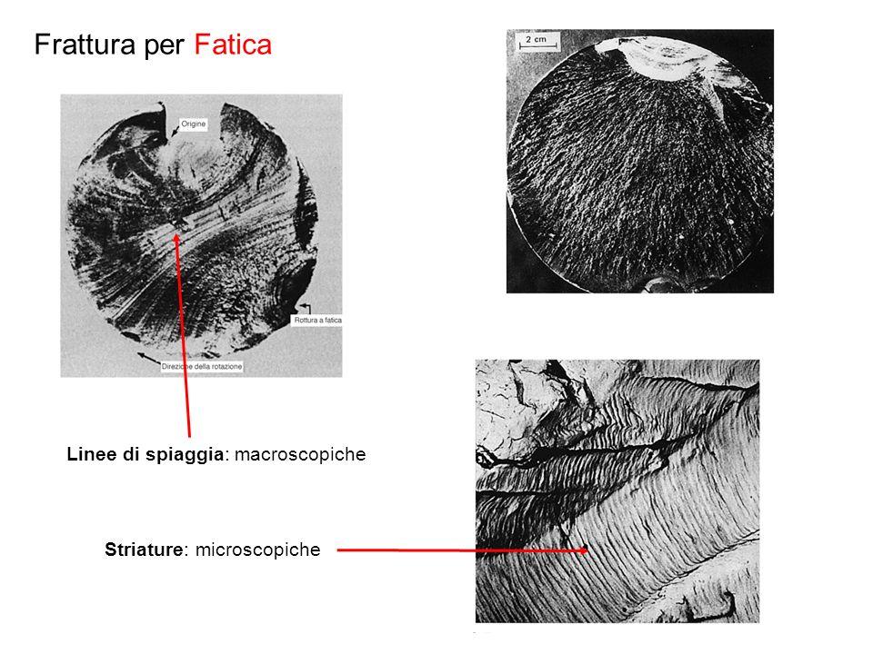 Frattura per Fatica Linee di spiaggia: macroscopiche Striature: microscopiche