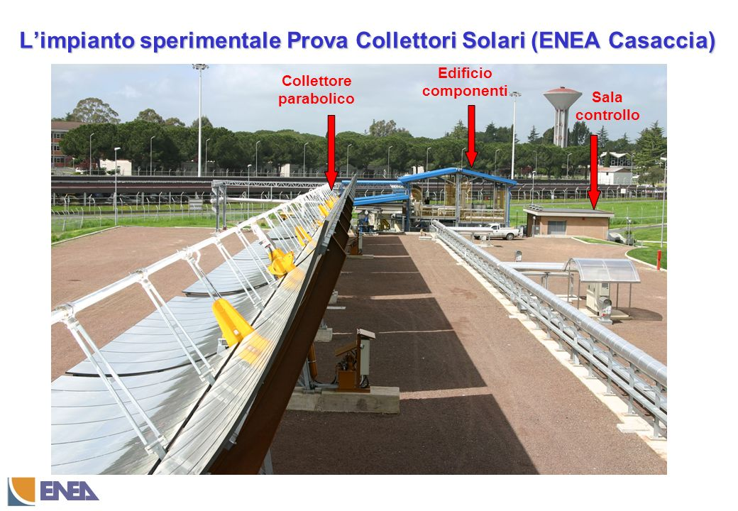 Collettore parabolico Edificio componenti Sala controllo Limpianto sperimentale Prova Collettori Solari (ENEA Casaccia)