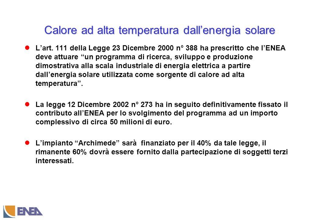 Calore ad alta temperatura dallenergia solare Lart.
