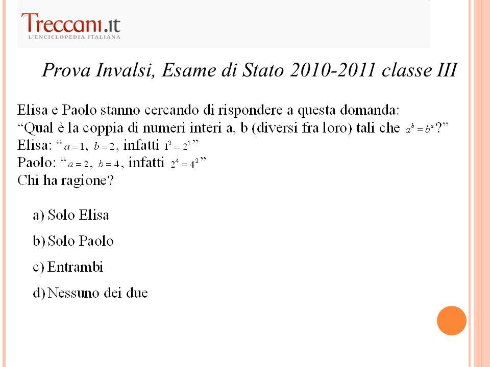 Prova Invalsi, Esame di Stato 2010-2011 classe III