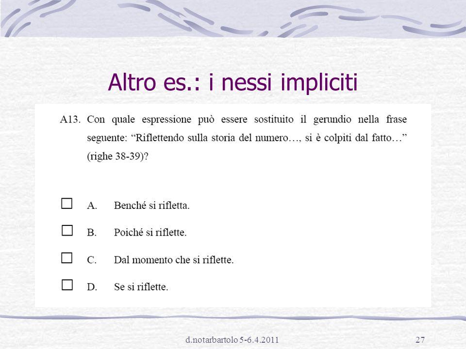 d.notarbartolo 5-6.4.201126 Altro es.: relazioni logico-semantiche