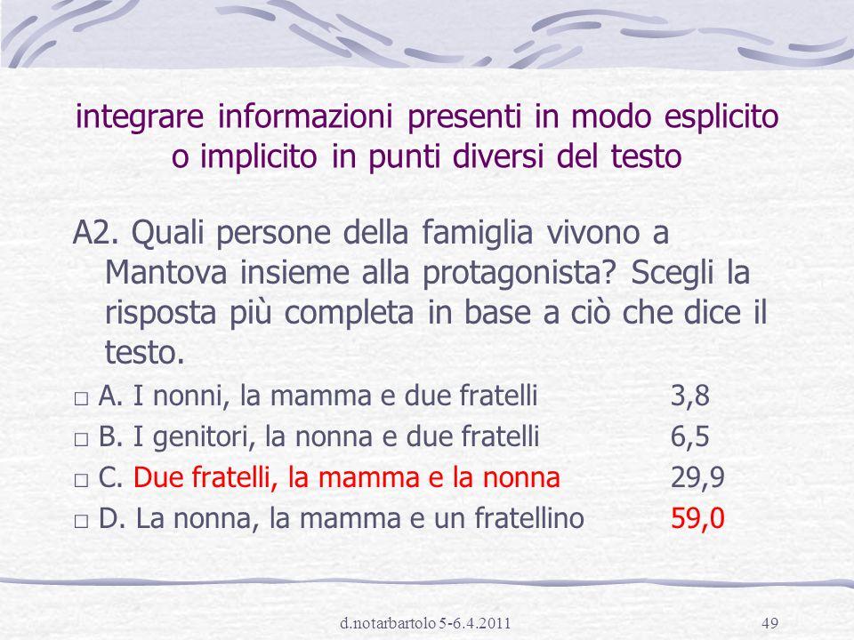 d.notarbartolo 5-6.4.201148 percentuali di risposta (SNV cl.I sec. I grado 2010)