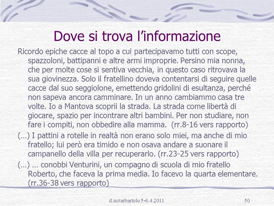 d.notarbartolo 5-6.4.201149 integrare informazioni presenti in modo esplicito o implicito in punti diversi del testo A2.