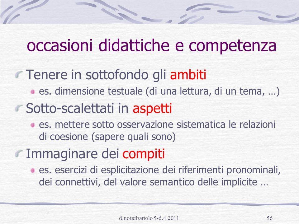 d.notarbartolo 5-6.4.201155 alcuni spunti didattici 2 Familiarità con strategie diverse di lettura: come è organizzato il testo.