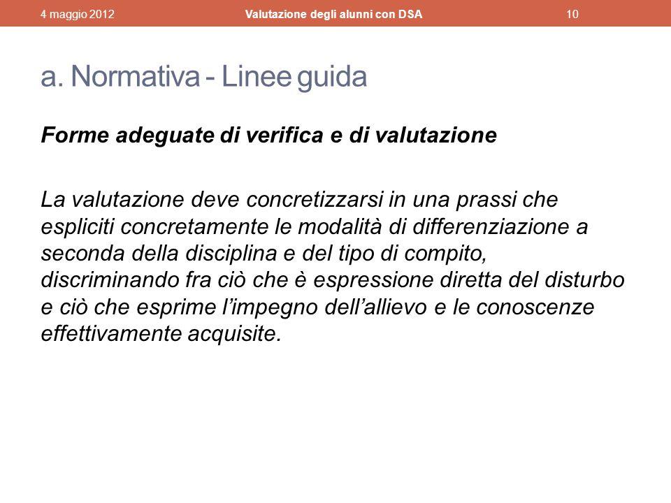 a. Normativa - Linee guida Forme adeguate di verifica e di valutazione La valutazione deve concretizzarsi in una prassi che espliciti concretamente le
