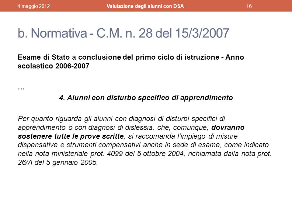 b.Normativa - C.M. n.