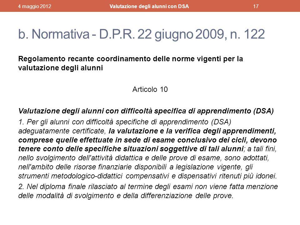 b.Normativa - D.P.R. 22 giugno 2009, n.
