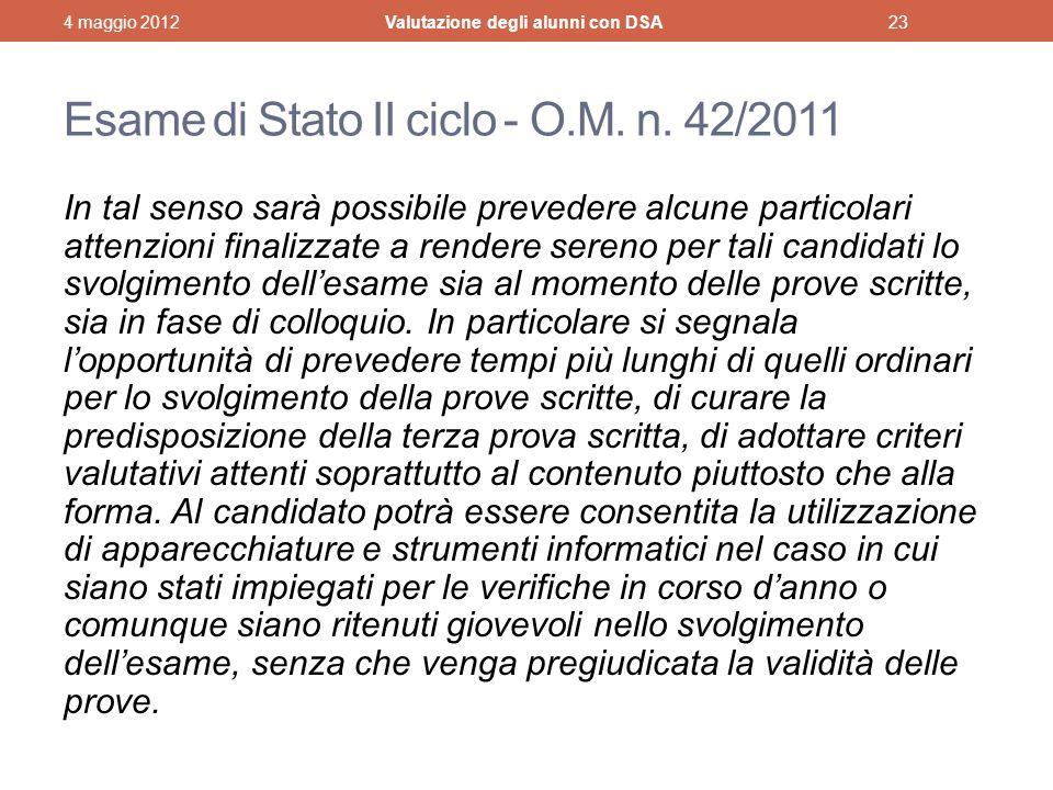 Esame di Stato II ciclo - O.M.n.