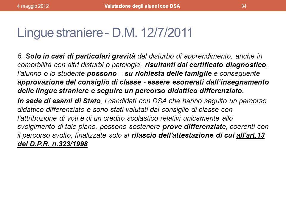 Lingue straniere - D.M.12/7/2011 6.