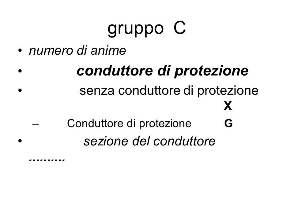 gruppo C numero di anime conduttore di protezione senza conduttore di protezione X – Conduttore di protezione G sezione del conduttore..........