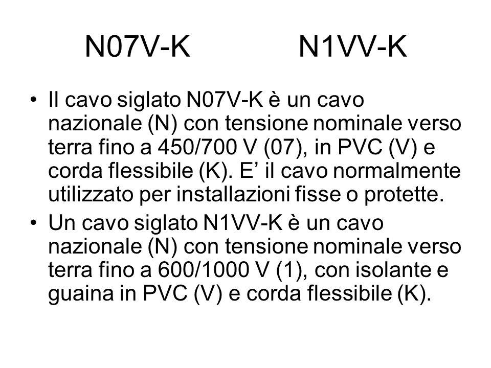 N07V-K N1VV-K Il cavo siglato N07V-K è un cavo nazionale (N) con tensione nominale verso terra fino a 450/700 V (07), in PVC (V) e corda flessibile (K).