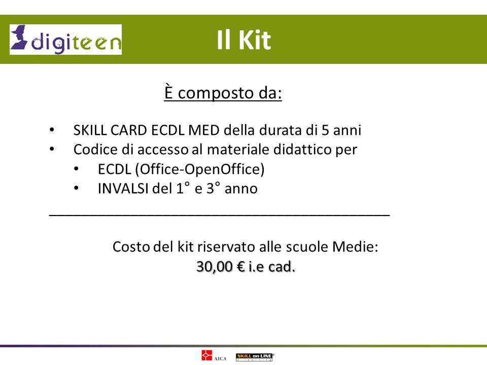 Il Kit SKILL CARD ECDL MED della durata di 5 anni Codice di accesso al materiale didattico per ECDL (Office-OpenOffice) INVALSI del 1° e 3° anno _____