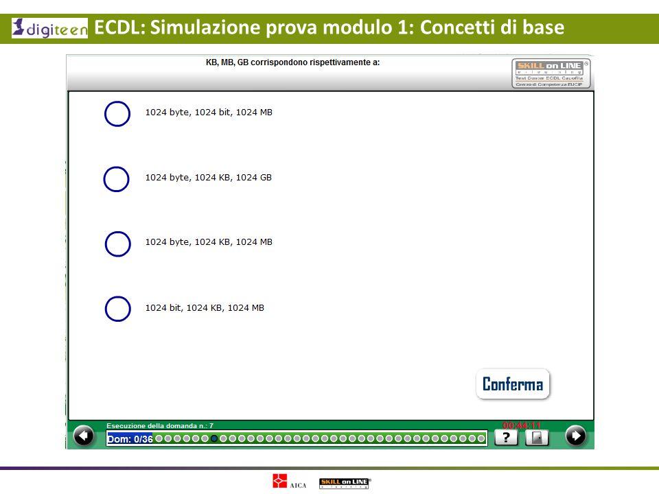 ECDL: Simulazione prova modulo 1: Concetti di base